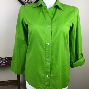 CHICO'S ADDITIONS KELLY GREEN BLOUSE